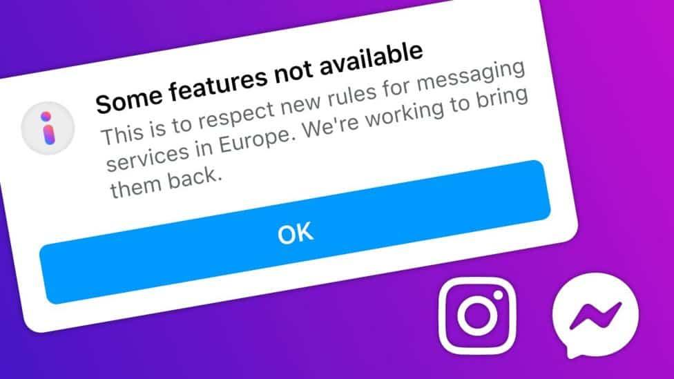 Facebook e Instagram desabilitam recursos na Europa